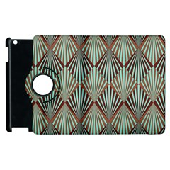 Art Deco Teal Brown Apple Ipad 2 Flip 360 Case by 8fugoso