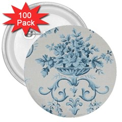 Blue Vintage Floral  3  Buttons (100 Pack)  by 8fugoso