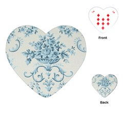 Blue Vintage Floral  Playing Cards (heart)  by 8fugoso