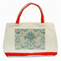 Blue Vintage Floral  Classic Tote Bag (red) by 8fugoso