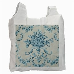 Blue Vintage Floral  Recycle Bag (one Side) by 8fugoso