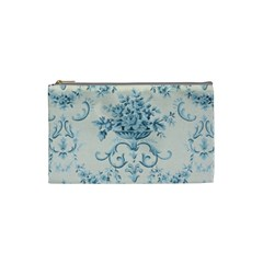 Blue Vintage Floral  Cosmetic Bag (small)  by 8fugoso
