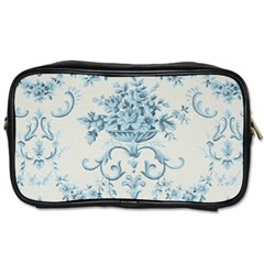 Blue Vintage Floral  Toiletries Bags 2 Side by 8fugoso