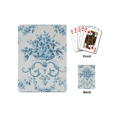 Blue Vintage Floral  Playing Cards (mini)  by 8fugoso