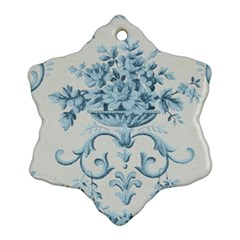 Blue Vintage Floral  Snowflake Ornament (two Sides) by 8fugoso