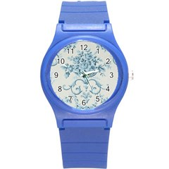 Blue Vintage Floral  Round Plastic Sport Watch (s) by 8fugoso