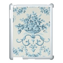 Blue Vintage Floral  Apple Ipad 3/4 Case (white) by 8fugoso