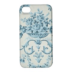 Blue Vintage Floral  Apple Iphone 4/4s Hardshell Case With Stand by 8fugoso