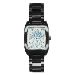 Blue Vintage Floral  Stainless Steel Barrel Watch by 8fugoso
