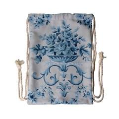 Blue Vintage Floral  Drawstring Bag (small) by 8fugoso