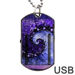 Beautiful Violet Spiral For Nocturne Of Scorpio Dog Tag Usb Flash (one Side) by jayaprime
