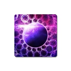 Beautiful Violet Nasa Deep Dream Fractal Mandala Square Magnet by jayaprime