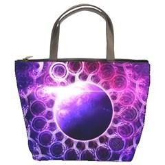 Beautiful Violet Nasa Deep Dream Fractal Mandala Bucket Bags by jayaprime