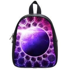 Beautiful Violet Nasa Deep Dream Fractal Mandala School Bag (small) by jayaprime