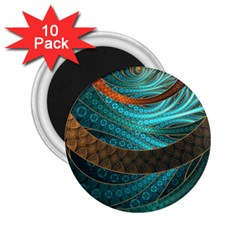 Beautiful Leather & Blue Turquoise Fractal Jewelry 2 25  Magnets (10 Pack)  by beautifulfractals