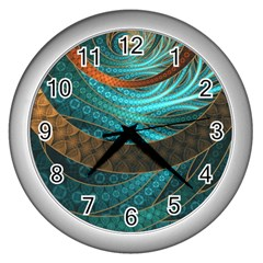 Beautiful Leather & Blue Turquoise Fractal Jewelry Wall Clocks (silver)  by beautifulfractals