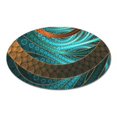 Beautiful Leather & Blue Turquoise Fractal Jewelry Oval Magnet by jayaprime