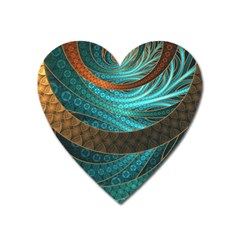 Beautiful Leather & Blue Turquoise Fractal Jewelry Heart Magnet by jayaprime