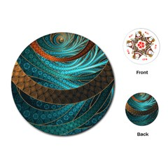 Beautiful Leather & Blue Turquoise Fractal Jewelry Playing Cards (round)  by beautifulfractals