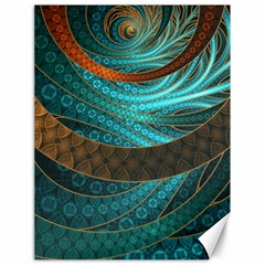 Beautiful Leather & Blue Turquoise Fractal Jewelry Canvas 18  X 24   by jayaprime
