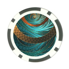 Beautiful Leather & Blue Turquoise Fractal Jewelry Poker Chip Card Guard (10 Pack) by jayaprime