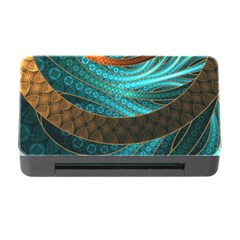 Beautiful Leather & Blue Turquoise Fractal Jewelry Memory Card Reader With Cf by jayaprime