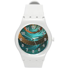 Beautiful Leather & Blue Turquoise Fractal Jewelry Round Plastic Sport Watch (m) by beautifulfractals