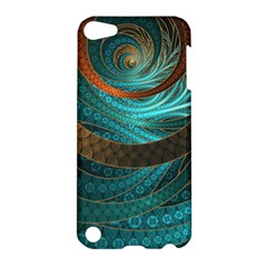 Beautiful Leather & Blue Turquoise Fractal Jewelry Apple Ipod Touch 5 Hardshell Case by jayaprime