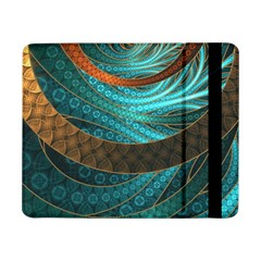 Beautiful Leather & Blue Turquoise Fractal Jewelry Samsung Galaxy Tab Pro 8 4  Flip Case by jayaprime