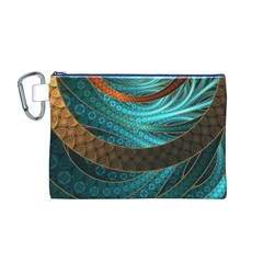 Beautiful Leather & Blue Turquoise Fractal Jewelry Canvas Cosmetic Bag (m) by beautifulfractals