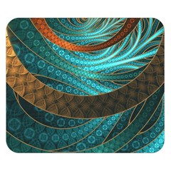 Beautiful Leather & Blue Turquoise Fractal Jewelry Double Sided Flano Blanket (small)  by beautifulfractals
