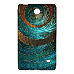 Beautiful Leather & Blue Turquoise Fractal Jewelry Samsung Galaxy Tab 4 (7 ) Hardshell Case  by jayaprime