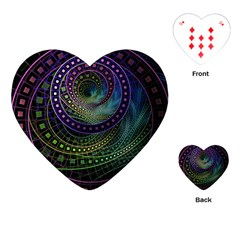Oz The Great With Technicolor Fractal Rainbow Playing Cards (heart)  by jayaprime