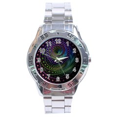 Oz The Great With Technicolor Fractal Rainbow Stainless Steel Analogue Watch by jayaprime