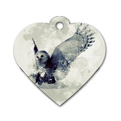 Cute Owl In Watercolor Dog Tag Heart (two Sides) by FantasyWorld7