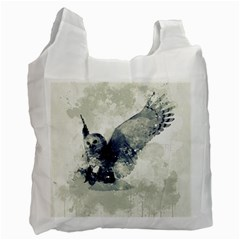 Cute Owl In Watercolor Recycle Bag (two Side)  by FantasyWorld7