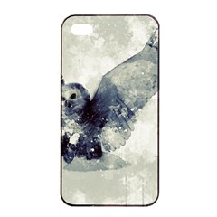 Cute Owl In Watercolor Apple Iphone 4/4s Seamless Case (black) by FantasyWorld7