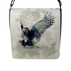 Cute Owl In Watercolor Flap Messenger Bag (l)  by FantasyWorld7