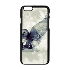Cute Owl In Watercolor Apple Iphone 6/6s Black Enamel Case by FantasyWorld7