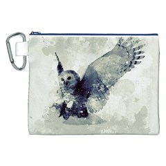 Cute Owl In Watercolor Canvas Cosmetic Bag (xxl) by FantasyWorld7