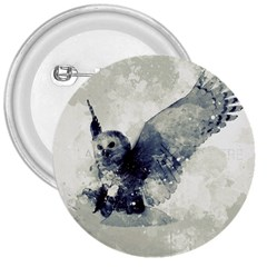 Cute Owl In Watercolor 3  Buttons
