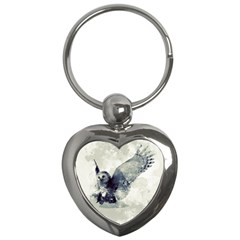 Cute Owl In Watercolor Key Chains (heart)  by FantasyWorld7
