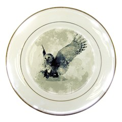 Cute Owl In Watercolor Porcelain Plates by FantasyWorld7