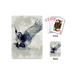 Cute Owl In Watercolor Playing Cards (mini)  by FantasyWorld7
