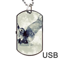 Cute Owl In Watercolor Dog Tag Usb Flash (one Side) by FantasyWorld7