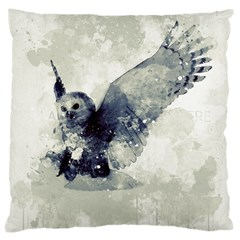 Cute Owl In Watercolor Large Cushion Case (one Side) by FantasyWorld7