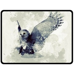 Cute Owl In Watercolor Double Sided Fleece Blanket (large)  by FantasyWorld7
