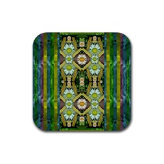 Bread Sticks And Fantasy Flowers In A Rainbow Rubber Square Coaster (4 Pack)  by pepitasart