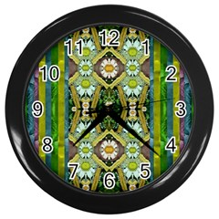 Bread Sticks And Fantasy Flowers In A Rainbow Wall Clocks (black) by pepitasart