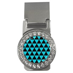 Triangle3 Black Marble & Turquoise Colored Pencil Money Clips (cz)  by trendistuff